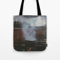 cooking Tote Bags featuring Home cooking  by Chase Hunter