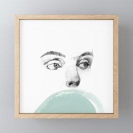 Watercolor eyes, minimalist drawing, graphite eyes, girl, woman eyes, Framed Mini Art Print