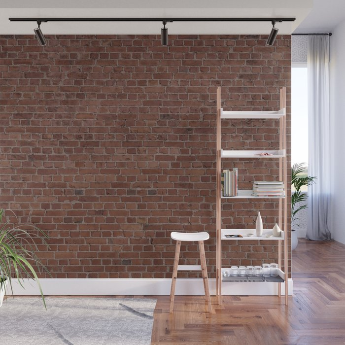 Brooklyn NYC Loft Apartment Brown Stone Brick Wall Wall Mural by podartist