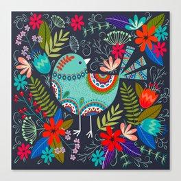 mandala flower birds Canvas Print