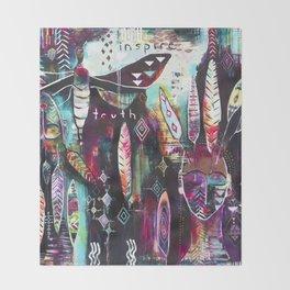 """Inspire Truth"" Original Painting by Flora Bowley & Lynzee Lynx Throw Blanket"