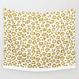 Glamorous Faux Sparkly Gold Leopard Wall Tapestry