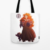 be brave Tote Bags featuring Brave by samanthadoodles