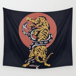 Classic Tattoo Snake vs Tiger Wall Tapestry
