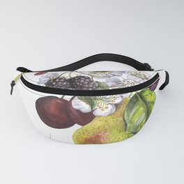 Fruit on a white background. Pear, plum, blackberry. Garden, fruit, autumn, vintage Fanny Pack