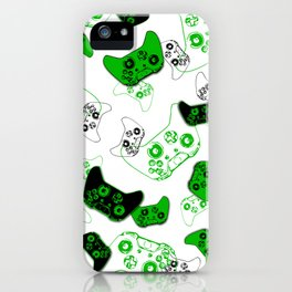Video Game White and Green iPhone Case