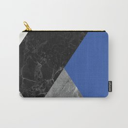 Black and White Marbles and Pantone Lapis Blue Color Carry-All Pouch