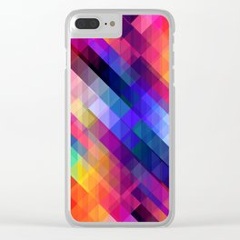 Abstract Colorful Decorative Squares Pattern Clear iPhone Case