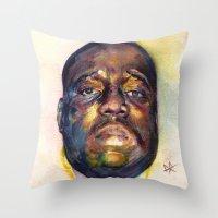biggie Throw Pillows featuring Biggie  by Kyle Miller