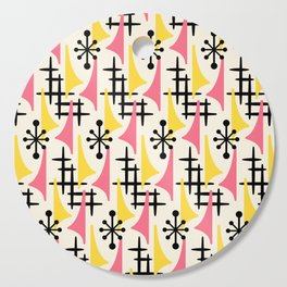Mid Century Modern Atomic Wing Composition Pink & Yellow Cutting Board