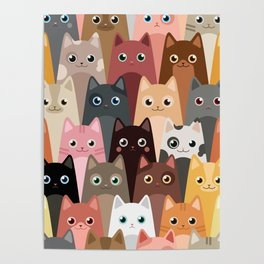Cats Pattern Poster
