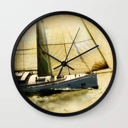 English style old sailboat sailing against to wind  and yellow grunge background Wall Clock