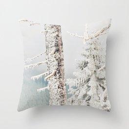 Snow Day Oregon Winter Photography Throw Pillow