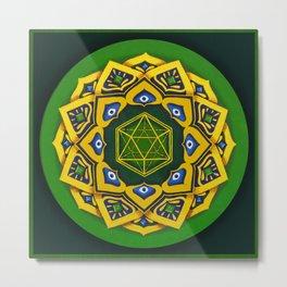 """Sacred geometry"" Green mandala by Ilse Quezada Metal Print"