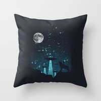 contact Throw Pillows featuring Contact by filiskun