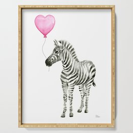 Zebra with Pink Balloon Serving Tray