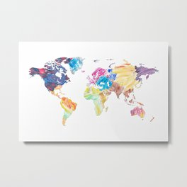 Abstract Colorful World Map Painting Metal Print