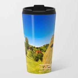 Haystack in the Carpathians of Romania Travel Mug
