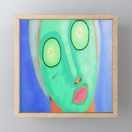 Cucumber Facial Abstract Digital Painting  Framed Mini Art Print