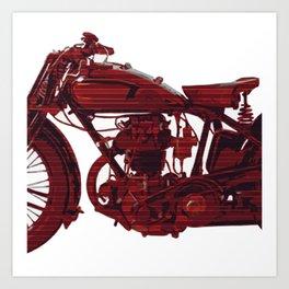 Red motorcycle lines Art Print