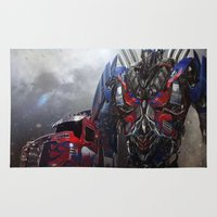 transformers Area & Throw Rugs featuring transformers  , transformers  games, transformers  blanket, transformers  duvet cover by ira gora