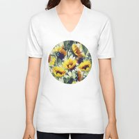 bright V-neck T-shirts featuring Sunflowers Forever by micklyn