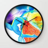 yoga Wall Clocks featuring Yoga by solnceZ