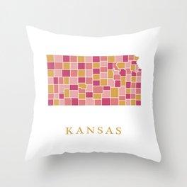 Kansas map Throw Pillow