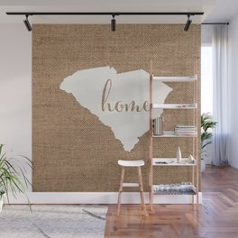 South Carolina is Home - White on Burlap Wall Mural