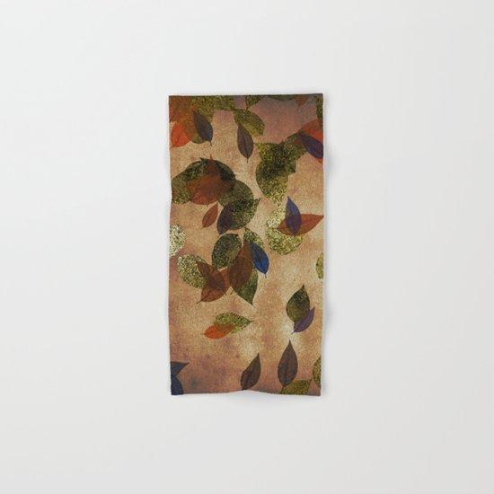 Autumn-world 3 - gold glitter leaves on dark backround Hand & Bath Towel