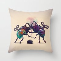 fight Throw Pillows featuring Fight by Tanya_tk