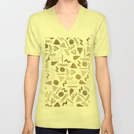 Retro abstract geometrical faux gold white 80'spattern Unisex V-Neck