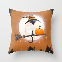 Siamese Cat Halloween Pumpkin Delivery Throw Pillow
