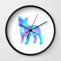 boston terrier Wall Clocks featuring Boston Terrier by AbstractBosties