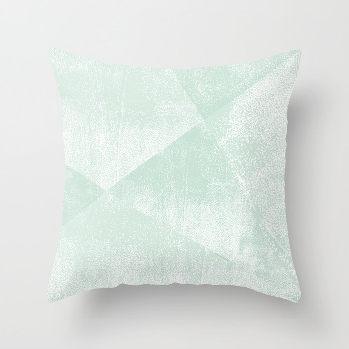 Mint Green and White Geometric Triangles Lino-Textured Print Throw Pillow