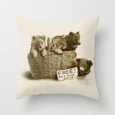 Lions and Tigers and Bears Throw Pillow