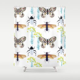 Watercolor Insects Shower Curtain