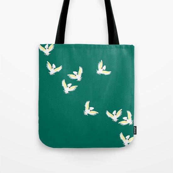cockatoos flock, jungle green Tote Bag
