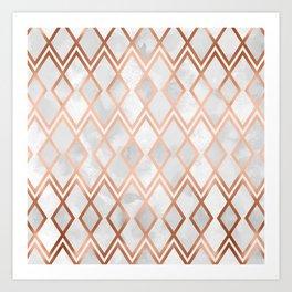 Copper & White Geo Diamonds Art Print