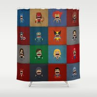heroes Shower Curtains featuring Screaming Heroes by That Design Bastard