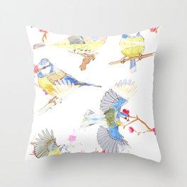 Bluetits Throw Pillow