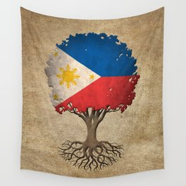 Vintage Tree of Life with Flag of Philippines Wall Tapestry