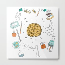 Science and Brain Metal Print