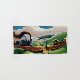 American West Classical Masterpiece 'Trains Colliding' by Thomas Hart Benton Hand & Bath Towel