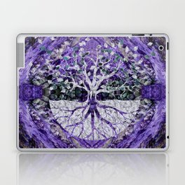 Silver Tree of Life Yggdrasil on Amethyst Geode Laptop & iPad Skin