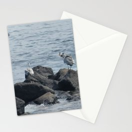 Migratory birds with fish in their mouths in Jeju sea. Stationery Cards