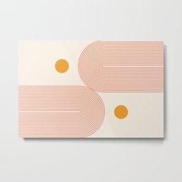 Abstraction_SUN_DOUBLE_LINE_POP_ART_Minimalism_001C Metal Print