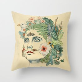 Green Woman: Bjork Throw Pillow