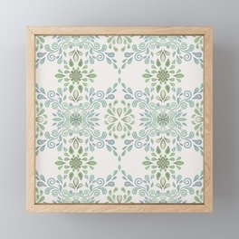Blue and Green Floral Pattern Framed Mini Art Print