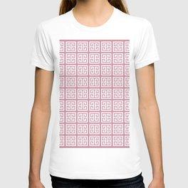 Puce Pink Greek Key Pattern T-shirt